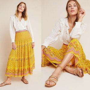 Anthropologie Skirts - ANTHROPOLOGIE Calinda Tiered Beaded Maxi Skirt